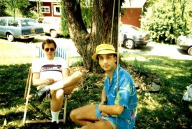 Myself, in my Liberty University T-shirt, and George Kalogerakis