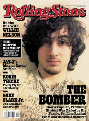Handout image of accused Boston bomber Dzhokhar Tsarnaev on the cover of August 1 issue of Rolling Stone magazine