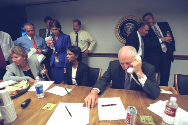 U.S. Vice President Dick Cheney (front)  is pictured with senior staff in the President's Emergency Operations Center in Washington in the hours following the September 11, 2001 attacks in this U.S National Archives handout photo